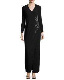 Long-Sleeve Embellished Faux-Wrap Gown by David Meister at Last Call