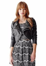 Long Sleeve Faux Leather Cropped Moto Jacket at Guess