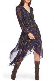 Long Sleeve Floral Handkerchief Hem Dress at Nordstrom Rack