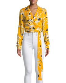 Long-Sleeve Floral Wrap Blouse at Bergdorf Goodman