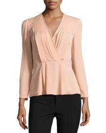 Long-Sleeve Georgette Wrap Top at Neiman Marcus