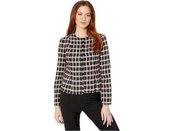 Long Sleeve Grid Tweed Frayed Jacket at Zappos