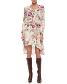 Long-Sleeve Lace-Up Floral-Print Dress by Haute Hippie at Neiman Marcus
