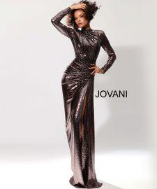 Long Sleeve Metallic Prom Dress by Jovani at Jovani