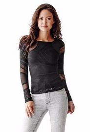 Long Sleeve Patterned Mesh Top at Guess