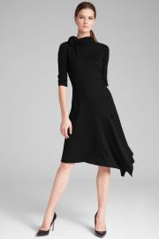 Long Sleeve Ponte Bow Neck Asymmetrical Skirt Dress by Teri Jon at Teri Jon