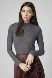 Long Sleeve Rib Funnel Neck Top  at Topshop