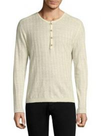 Long Sleeve Ribbed Henley by John Varvatos  at Saks Fifth Avenue