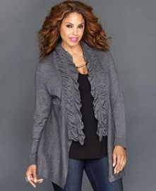 Long-Sleeve Ruffled Open-Front  CArdigan at Macys