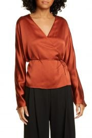 Long Sleeve Silk Wrap Blouse at Nordstrom Rack