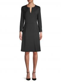 Long-Sleeve Stretch-Silk A-Line Dress at Saks Off Fifth