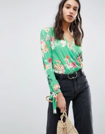 Long Sleeve Tie Cuff Wrap Daywear Body in Floral Print at Asos