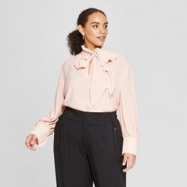 Long Sleeve Tie Neck Drapey Blouse by Who What Wear at Target at Target