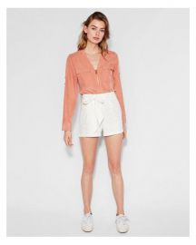 Long Sleeve Two Pocket Zip Front Shirt at Express