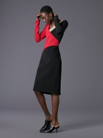 Long-Sleeve V-Neck Banded Dress at DvF