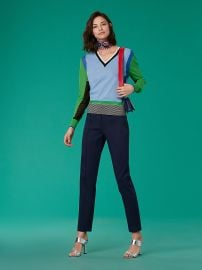 Long-Sleeve V-Neck Color Block Pull Over Diane von Furstenberg at DvF
