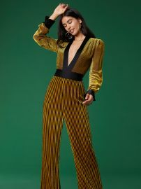 Long-Sleeve Velvet Sash Jumpsuit  at Diane von Furstenberg