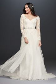Long Sleeve Wedding Dress With Low Back at Davids Bridal