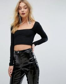 Long Sleeved Crop Top by Miss Selfridge at ASOS