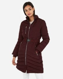 Long belted puffer coat at Express