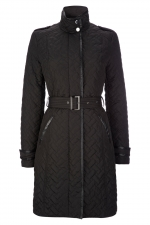Long black quilted coat from Wallis at Wallis