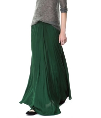 Long forest green skirt from Zara at Zara