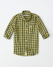 Long-sleeve Preppy Shirt in Yellow Check at Abercrombie
