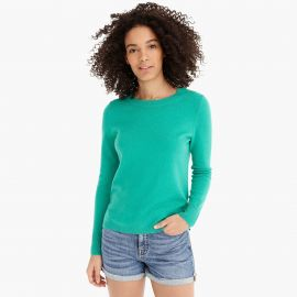 Long-sleeve everyday cashmere crewneck sweater in Bright Kelly at J. Crew