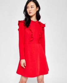 Long sleeve frill tunic dress at Ted Baker
