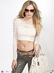 Long sleeve lace cropped top at Guess