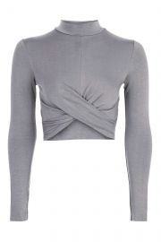 Long sleeve twist crop top at Topshop
