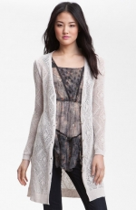 Long white crochet cardigan by Free People at Nordstrom