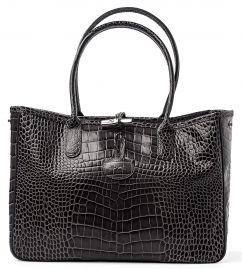 Longchamp Roseau Crocodile-embossed Shoulder Bag Gray Grey New Guaranteed Authentic at Amazon