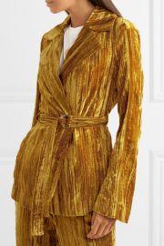 Lora belted crushed-velvet blazer at Net A Porter
