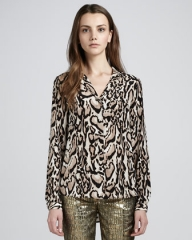Lorelei leopard print blouse by DVF at Neiman Marcus