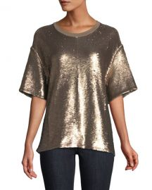 Lorena Crewneck Short-Sleeve Sequin Tee at Neiman Marcus