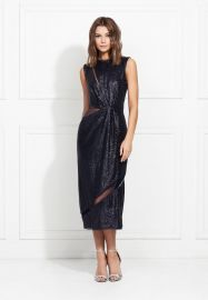 Lorraine Fluid Sequin Cutout Midi Dress at Rachel Zoe