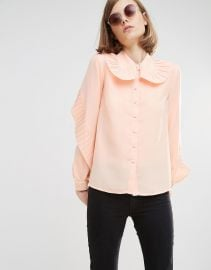 Lost   Lost Ink Shirt With Large Pleated Collar at Asos