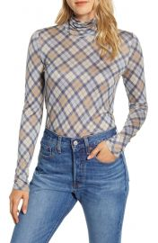 Lou  amp  Grey Elma Plaid Turtleneck Top   Nordstrom at Nordstrom