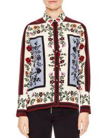 Louane Floral & Square Print Silk Shirt by Sandro at Bloomingdales