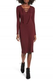 Love  Fire Lace-Up Rib Knit Dress at Nordstrom
