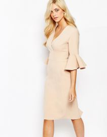 Love  Love Pencil Dress With Frill Sleeve at Asos
