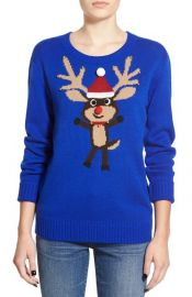Love by Design Embellished Rudolph Christmas Sweater at Nordstrom