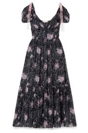 LoveShackFancy - Angie gathered floral-print silk-georgette maxi dress at Net A Porter