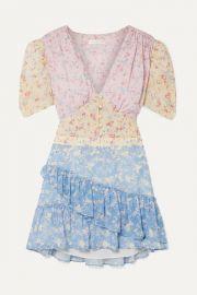 LoveShackFancy - Bea ruffled floral-print silk-georgette mini dress at Net A Porter