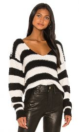Lovers   Friends Collins V Neck Sweater in Black  amp  White Stripe from Revolve com at Revolve