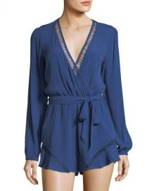 Lovers And Friends Oceanview Long-Sleeve V-Neck Romper at Neiman Marcus