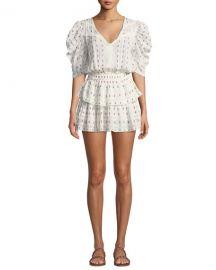 Loveshackfancy Marissa Puff-Sleeve Floral Flounce Mini Dress at Neiman Marcus