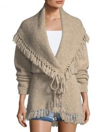 Loveshackfancy Tassel Cable-Knit Shawl Sweater at Neiman Marcus