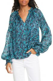 Luanne Pleated & Smocked Silk Top at Nordstrom